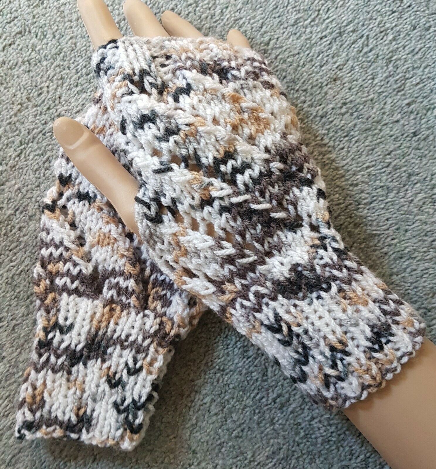 New Hand Knitted Lace Effect Fingerless Gloves/ Wrist Warmers in Brown/White