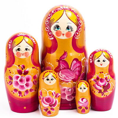 """7/"""" 5 pcs Russian Dolls Traditional Hand Painted Nesting Doll Rooster Artwork"""