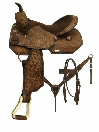 Pleasure style saddle set with tooled rough out leather 16