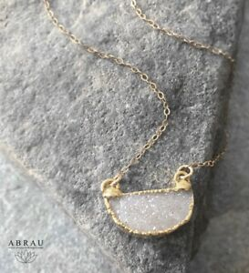 ABRAU-Petite-Half-Moon-Circle-Druzy-Gemstone-Layering-Necklace-Silver-or-Gold