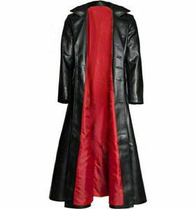 Men Long Winter Trench Coat Overcoat Casual Genuine leather Gothic Halloween 010