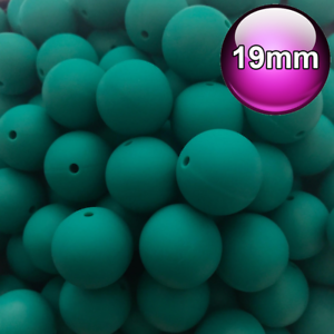 10 x Round Silicone Beads Emerald Green 19mm Food Grade Baby Teeth safe 20mm
