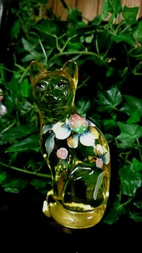 FENTON Golden Yellow Tall Cat HP With Flowers 5065 QW