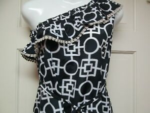 Black-and-White-One-Shoulder-Dress-by-Mud-Pie-Size-Medium-8-10-NWT