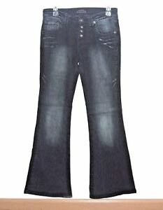 TOXIC-Whiskered-Flare-Button-Fly-Jeans-Womens-3-x-31-Juniors-Flap-Pockets