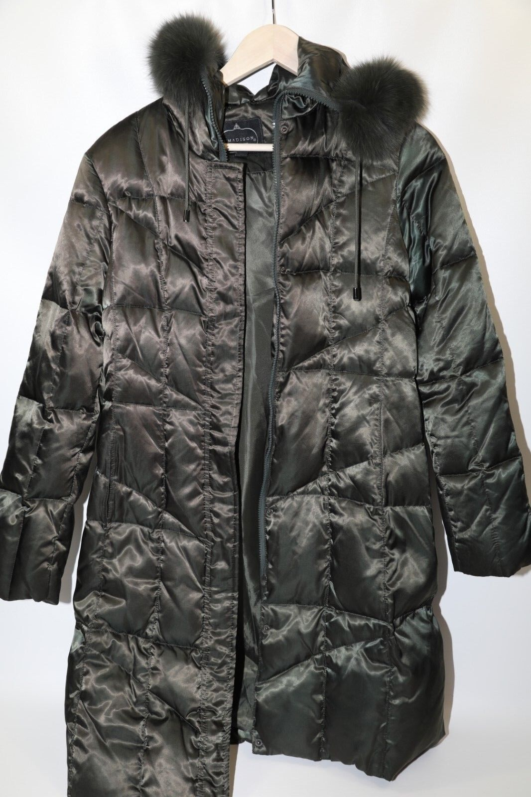 Madison Polyester Down Fill Fox Trim Quilted Coat Size M