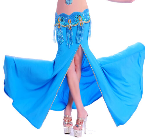 New Belly Dance Costume Professional Performances split Skirt Dress 11 Color
