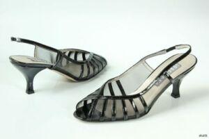 Leather Italy Open Black 'velma' Prevata 7 mesh New Slingbacks Shoes 325 toe ITOqnZ
