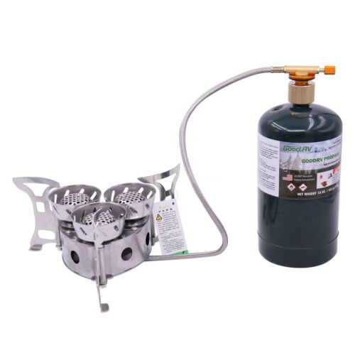 Propane Gas Tank Converter Outdoor Camping Brass Gas Stove Flat Adapter Cylinder