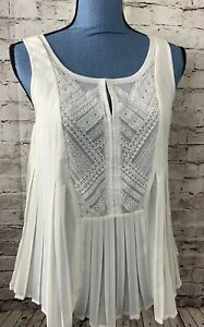 HD-in-Paris-Womens-Tank-Top-Blouse-Pleated-Sleeveless-Lace-Ivory-6-Sheer