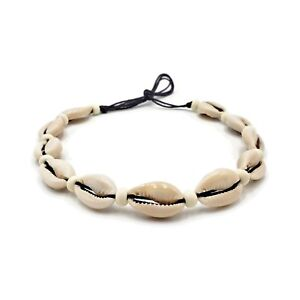 76bf0a8dcdb6b Details about Cowrie Shell Black Cotton Tied Choker Necklace Boho Bone  Beads Surfer Jewelry