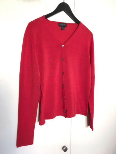 Christopher Fischer Womens V-Neck Red Cardigan Swe