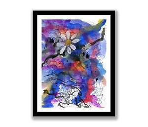 Daisy-on-abstract-watercolour-abstract-painting-unique-gift-Print-ID-161