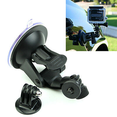 Car Windshield Vacuum Suction Cup Mount + Tripod Adapter For GoPro Hero 4 3+ 3 2