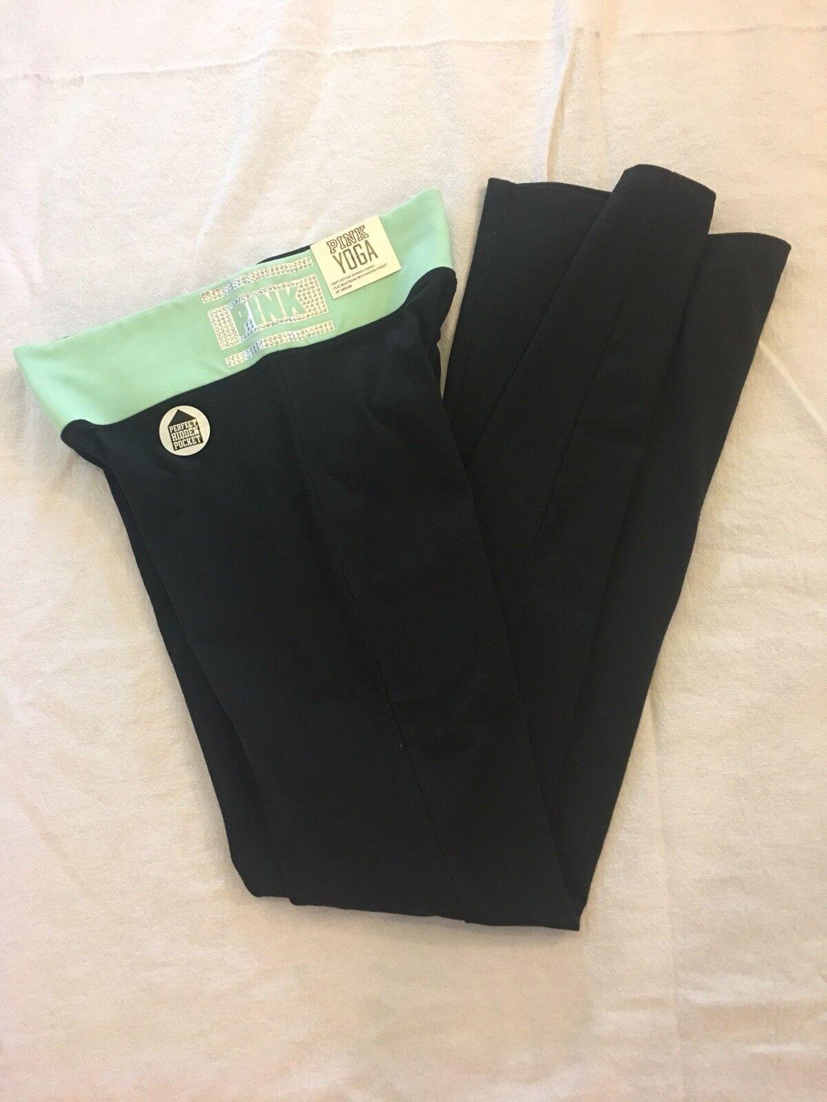 Victoria's Secret Flat Boot Yoga Pants Mint Green Rhinestone Small NWT