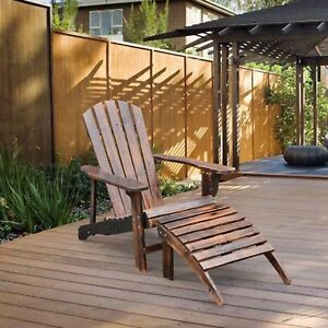 Adirondack-Outdoor-Patio-Deck-Wood-Lounge-Chair-Seat-w-Ottoman-Carbonized-Brown