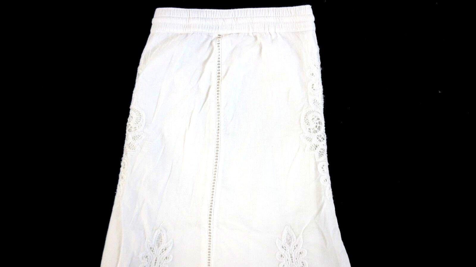 NWT LAUREN RALPH LAUREN Women's White Cotton Lailah Lace Inset A-Line Skirt L