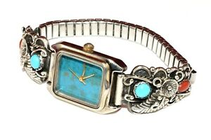STC-Sterling-Silver-Signed-Navajo-Turquoise-Coral-925-Tips-Arenix-Watch