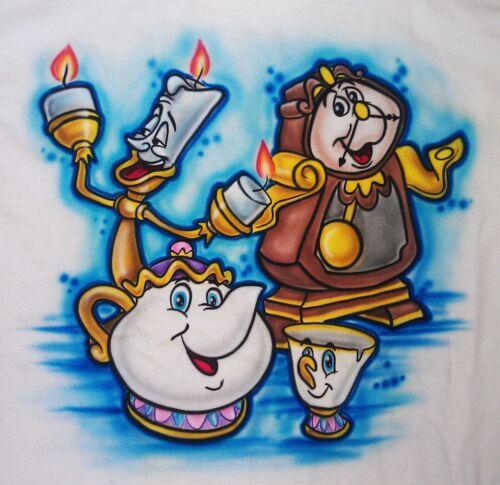 Airbrushed T-Shirt Custom Princess Beauty and the Beast Romantic