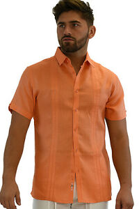 Men-Bohio-100-Linen-Embroidered-Orange-Casual-Short-Sleeve-Shirt-S-2XL-MLS258
