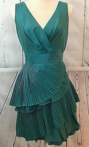 New Max And Cleo Women S Dress 4 Green Teal Ruched Taffeta