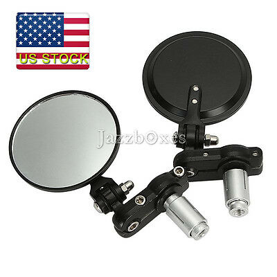 """3"""" ROUND BLACK 7/8"""" HANDLE BAR END FOLDABLE MIRRORS CAFE RACER BOBBER CLUBMAN US"""