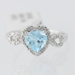 New-Light-Blue-Topaz-Heart-Ring-Sterling-Silver-Diamond-Accents-Size-7-5-Women-039-s