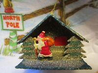 VINTAGE PUTZ&BLACK GLITTER HOUSE SANTA&STAFF RED CELLOPHANE CHRISTMAS ORNAMENT