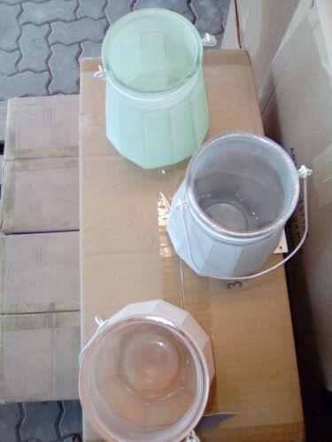 Laternen aus Glas in Pastell grün mit Metallbügel  NEU Windlicht