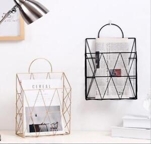 Details About Home Wall Mounted Metal Wire Magazine Newspaper Rack Storage Holder Diy Racks