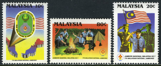 Details about Malaysia 395-397,MNH 7th Natl Scout  Jamboree Map,badges