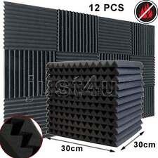 12x Acoustic Foam Wedge Tiles Studio Wall Panels Room Sound Absorption Treatment