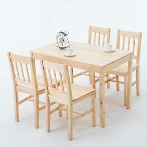 Details about Modern 5 Piece Pine Wood Dining Set Rectangular Kitchen  Dining Room Furniture