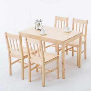 Details About Modern 5 Piece Pine Wood Dining Set Rectangular Kitchen  Dining Room Furniture