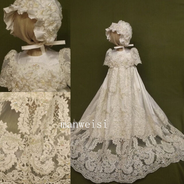 Bonnet Toddler Baby Baptism Christening Gown Lace First Communion ...