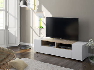 Mueble-multimedia-para-TV-en-color-blanco-artik-y-roble-canadian-138-cm