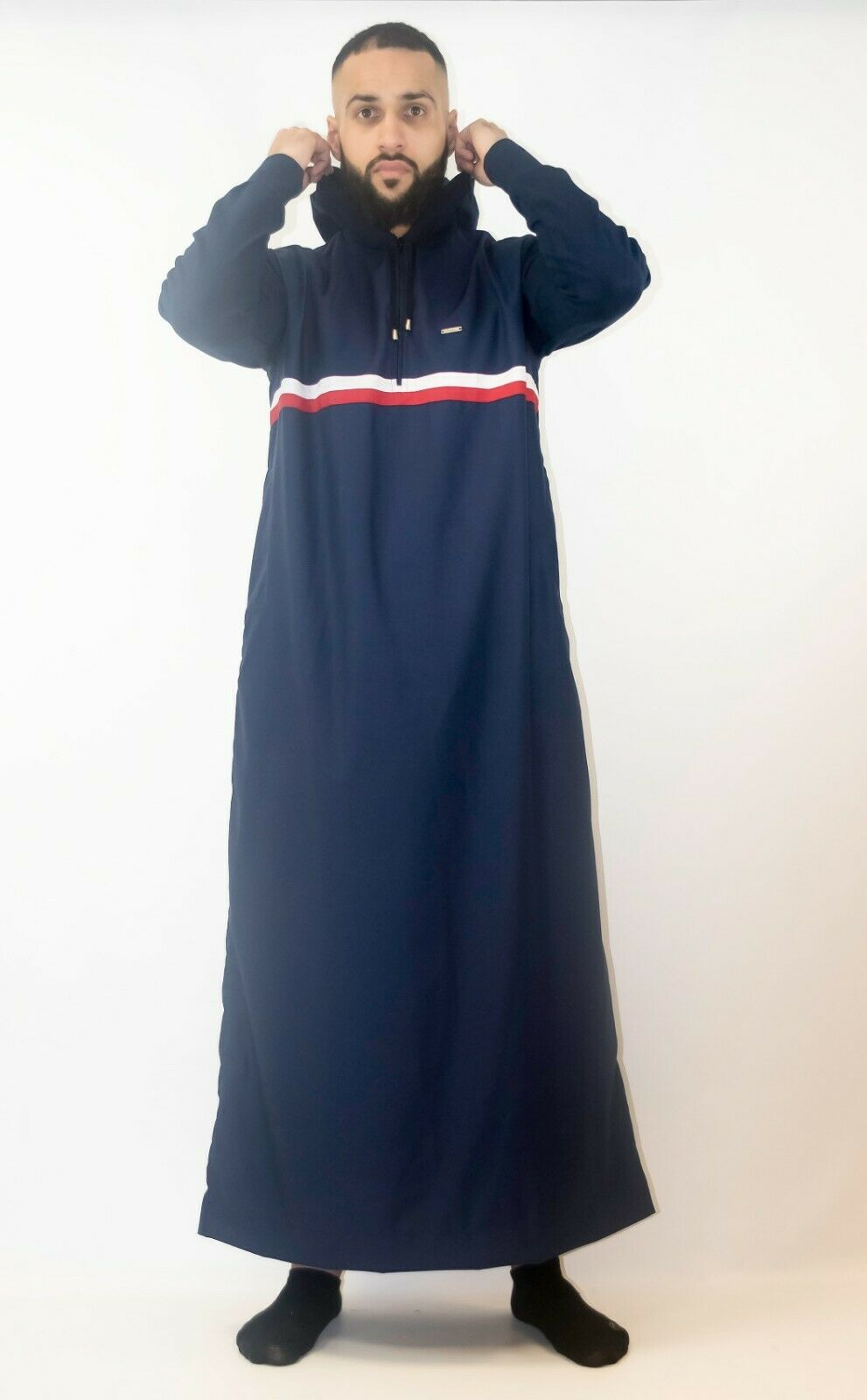 NEW Mens muslim jubbah THE MAN designer hoody style thobe contrast arms and hood