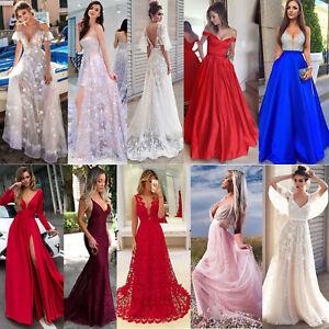 Sexy-Elegante-Abito-Cerimonia-Da-Donna-Con-Spacco-Vestito-Lungo-Da-Gown-Festa-MA