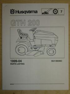 Husqvarna Gth 200 Lawn Garden Tractor Mower Parts List