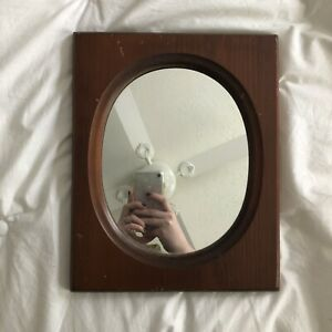 Vintage-Minimalist-Wooden-Rectangular-Frame-Simple-Oval-Mirror-Rustic-Cottage-EC