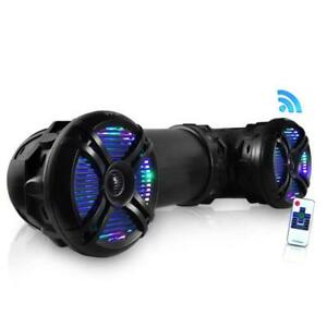 "Pyle PLATV65BT 800 Watt Marine Bluetooth Amplifed Waterproof 6.5"" Speakers Black"