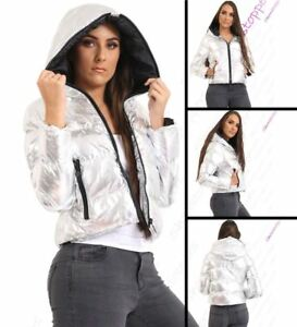 Size 8 10 12 14 16 Womens QUILTED METALLIC SILVER JACKET COAT PADDED PARKA