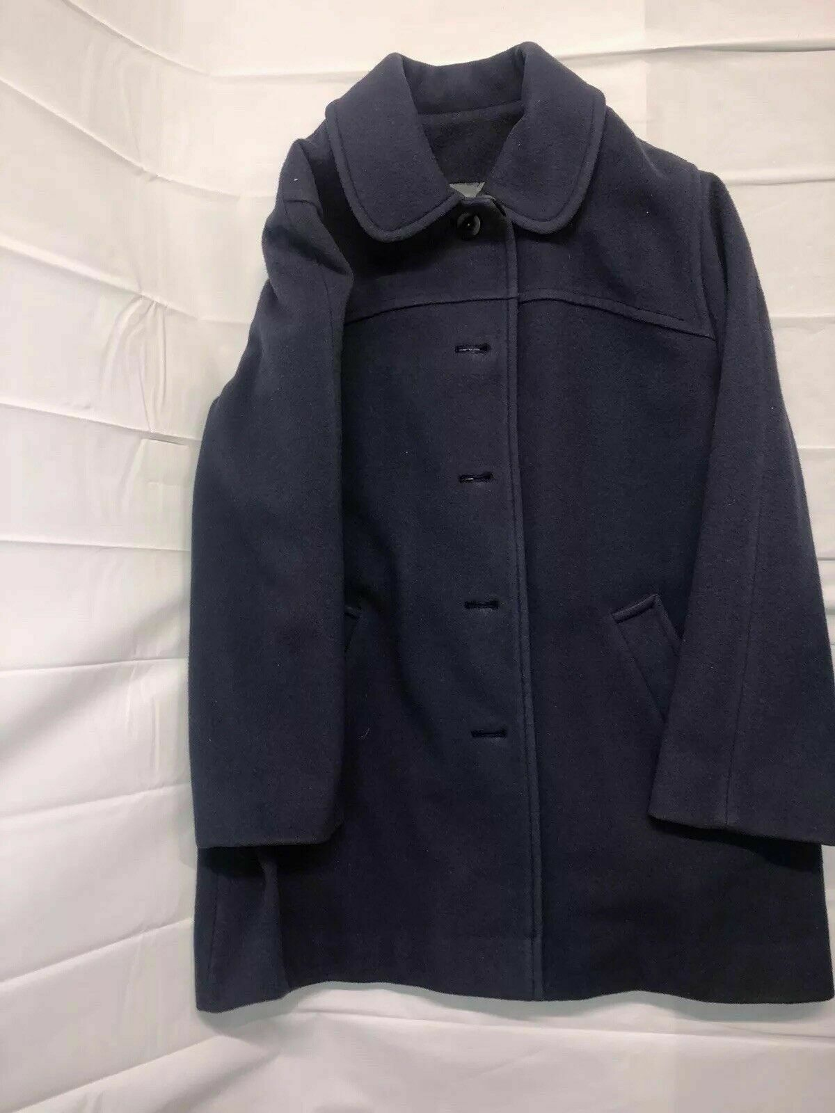 VINTAGE WOMENS M. LIMAN PENGUIN THINSULATE TRENCH WOOL COAT NAVY blueE SIZE 20