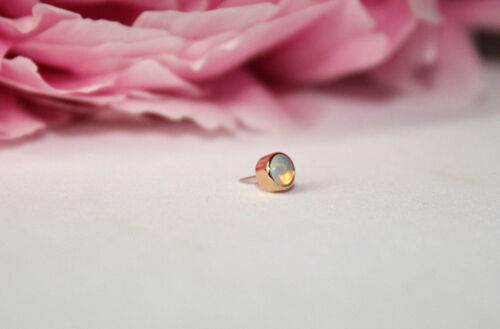 14k Solid Gold Bezel Body Jewelry Piercing With Real Opal 25g Threadless pin