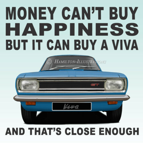 Vauxhall Viva HB GT Saloon Art Classic Car Gift Idea Drinks Coaster BLUE