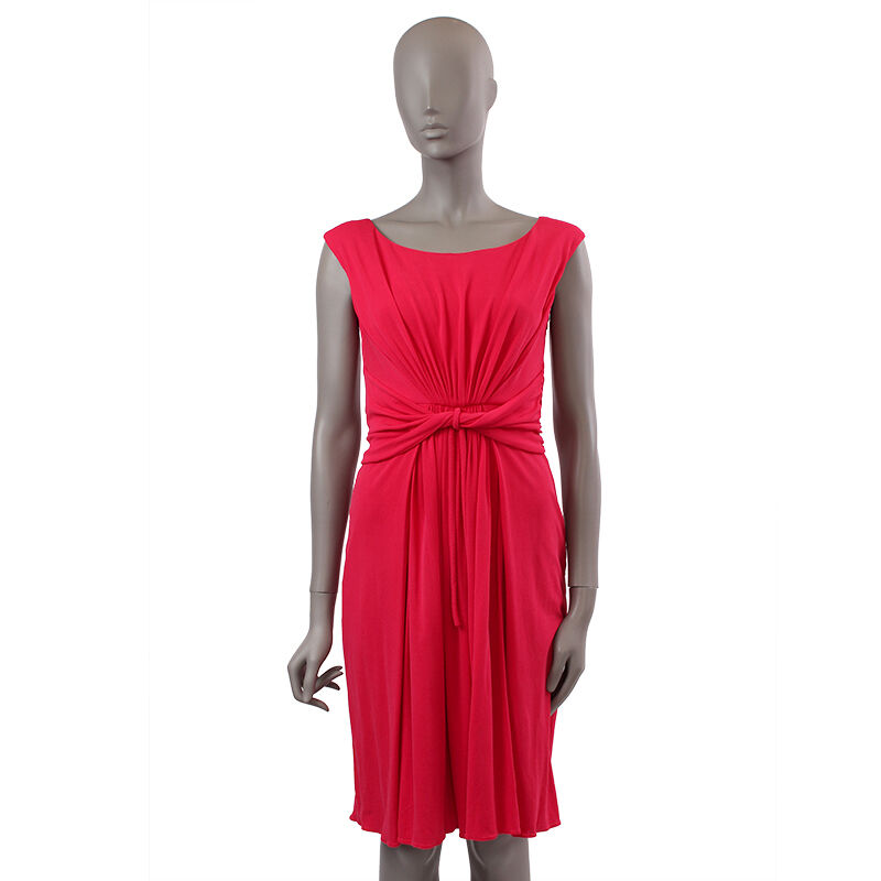 37955 auth GIAMBATTISTA VALLI cherry rouge silk Sleeveless Robe 44 L