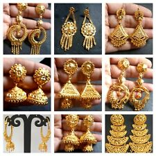 Earrings Wholesale Lot 2 South Indian 22K Gold Plated Jhumka Jhumki CZ