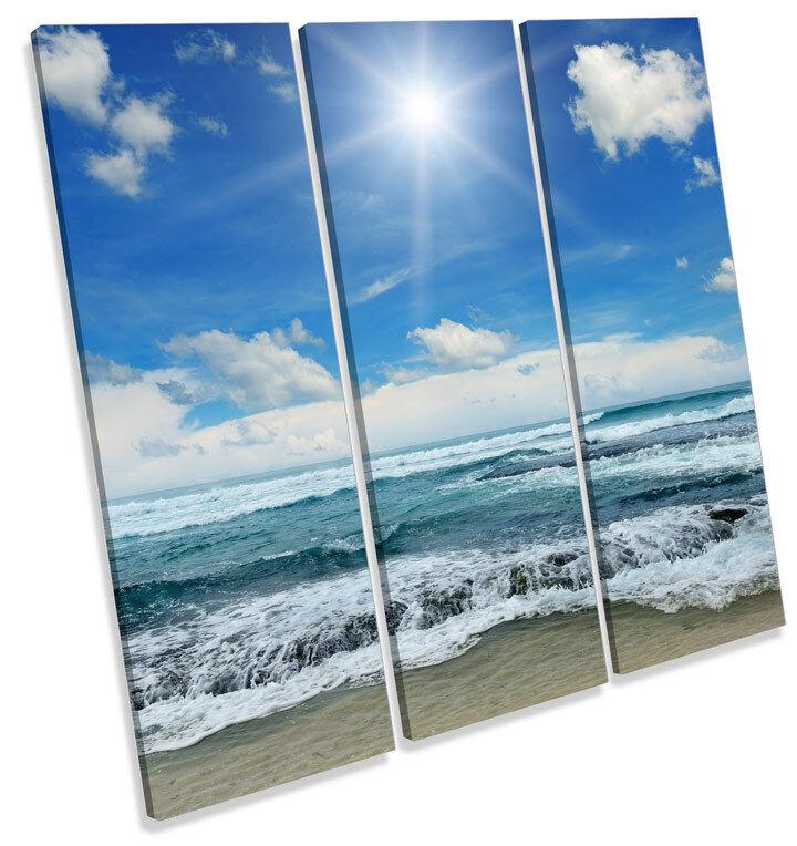 Onda Paisaje Playa Azul LONA pa impresión rojo  arte Foto impresión pa cuadrado de agudos bed81f
