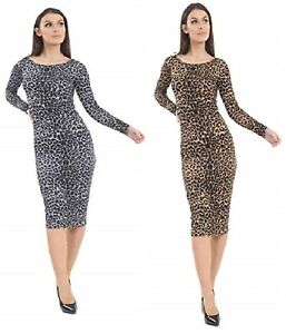 New Womens Ladies Long Sleeves Leopard Printed Stretchy Bodycon Midi Dress 8-26