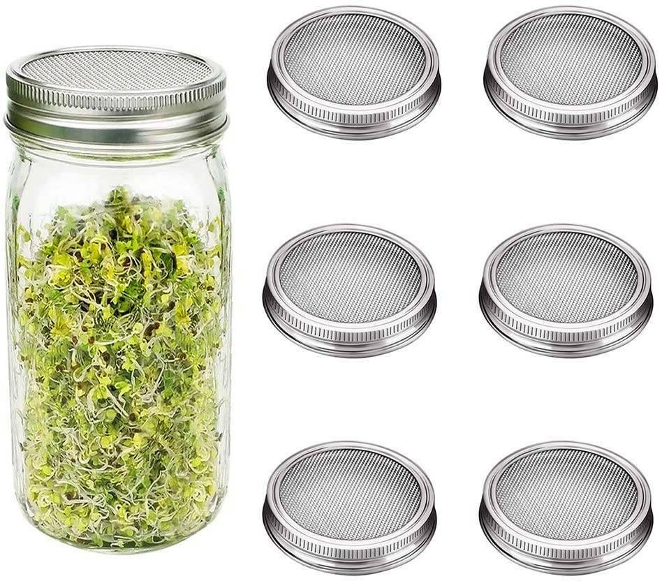 Wide Mouth Mason Jar Sprouting Lids with Stainless Steel Mesh Screen Filter USA